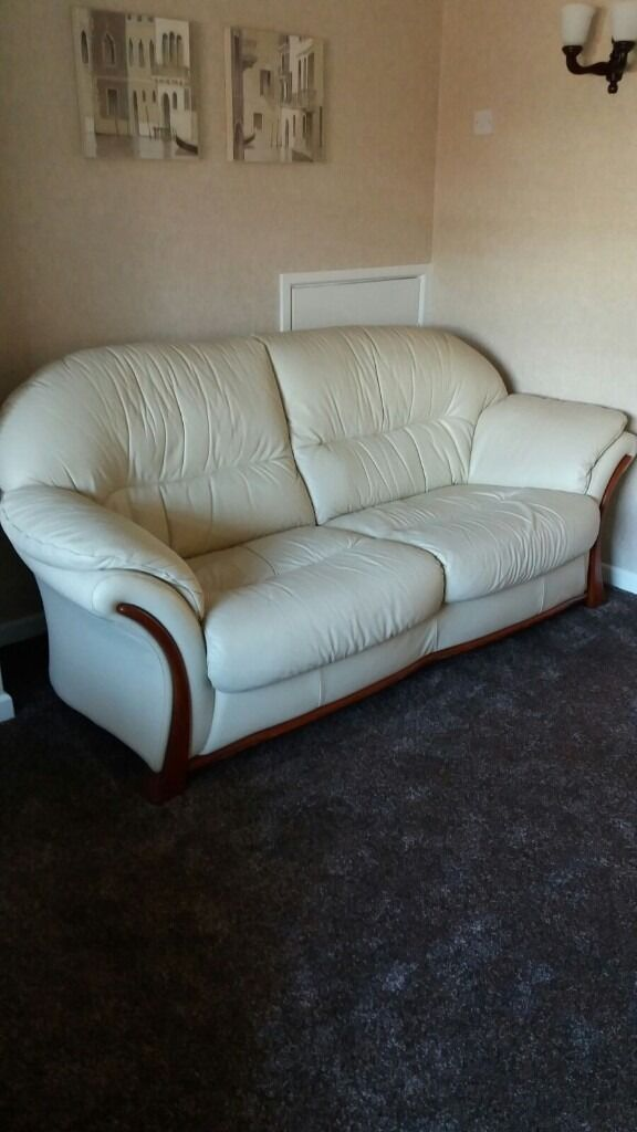 Reduced Must Go 3 Piece Suite Cream Leather