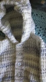 Hand made knitted boys hooded jacket coat cardigan and booties 0-3 months NEW