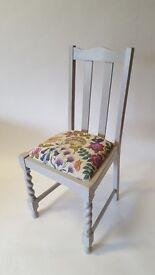 Upcycled Dining Chair w/ Barley Twist Legs