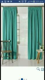 Long blackout thermal curtains -183cm length, available in turquoise and mocha