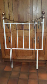 Brand New Single Bed Metal Headboard, White with Brass Trims - Still In Box