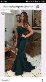 Beautiful all black fitted satin fish tail prom dress with shawl