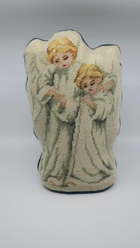 Finished Needlepoint PAIR PRAYING ANGELS FIGURAL PILLOW Doorstop Style Christmas