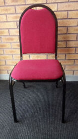 35x Banqueting Chairs. Stacking. Black Frame. Red Padding