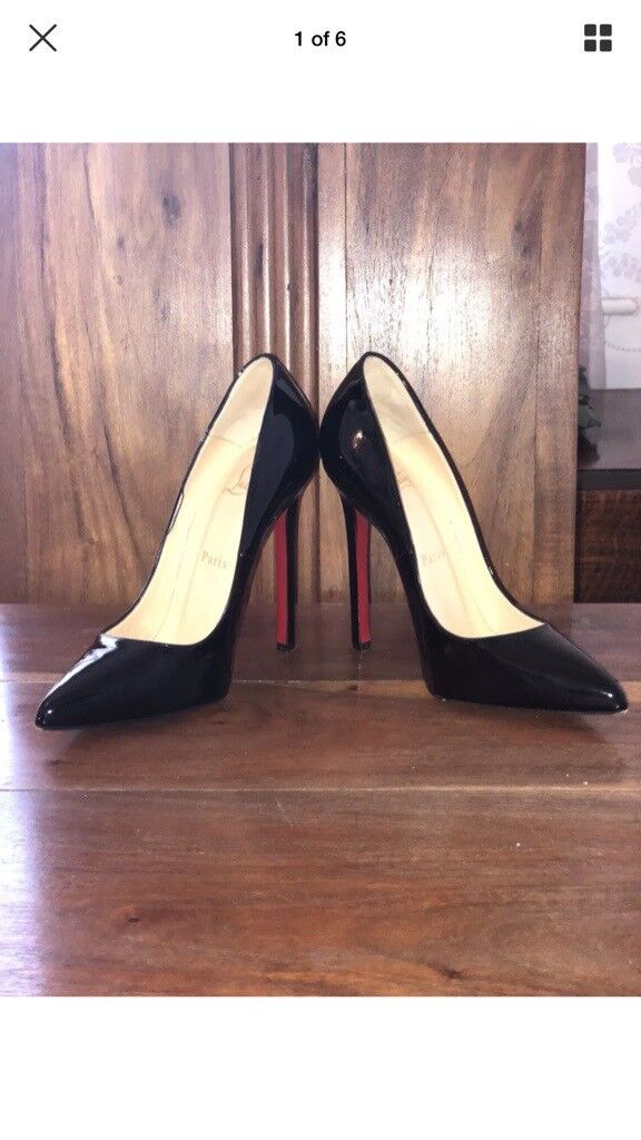 BARGAIN!!! Christian Louboutin Patent Black Heels, Size 4, Bought for £500!! Worn ONCE!!