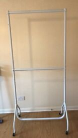 6ft White Double Clothes Rail with wheels