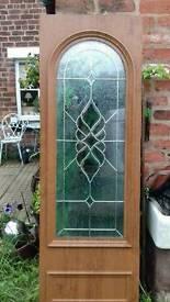Upvc door panel oak on white