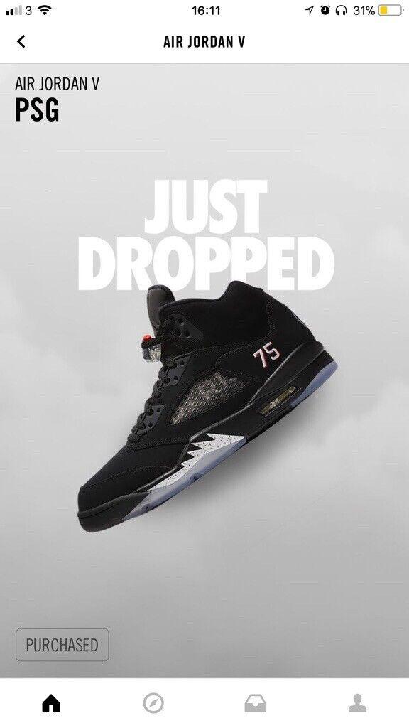 d3058239b716 Nike Air Jordan 5 Retro Paris Saint-Germain (PSG) UK 9