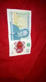 Rare Polymer £5 note AA01 serial number