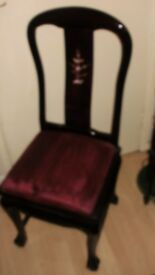 set of 6 red laquered queen /ann chinese style dinning chairs inlayed back red seats,heavy quality