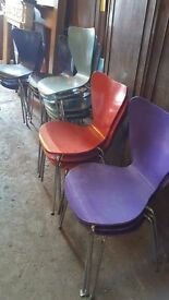 job lot of coloured chairs
