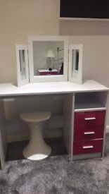 Bedside cabinet with matching vanity dresser including stool and mirror