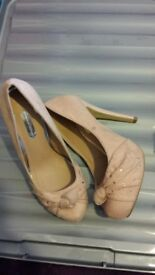 sale new Size 5 Dorothy Perkins suede blush fenella nude bow heels