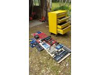 Various Professional mechanics tools and metal tool box for sale.