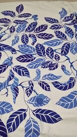 Curtains in blue and white from IKEA.