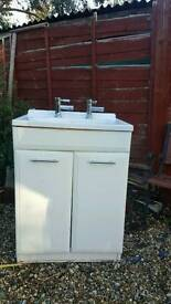 Basin with cabinet and tap in good condition