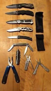 Bifold, survival knives and multi-tools lot