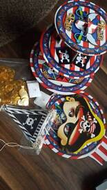 Pirate party cake stands and masks