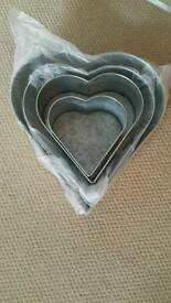 4, heart shape cake tins brand new