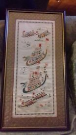 Chinese (100 men) cloth framed picture