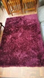 Fluffy rug burgundy from dunelm