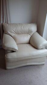 Single - cream leather arm chair