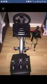 Ps4 Logitech drive force steering wheel and pedals with clutch gesr box and stand for it