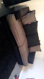 Three Seater Sofa Fabric Black & Brown