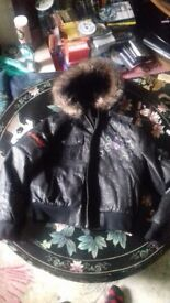 Ladies Ed Hardy black leather jacket XL