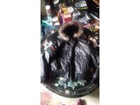 Ladies Ed Hardy black leather jacket XL