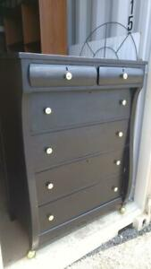 Oakville BLACK TALL DRESSER 34 wide x20 deep x47 high Painted Heavy Solid Wood Chest of Drawers Clothing Clothes storage