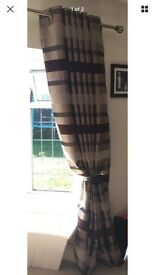 "Brown stripe ring top curtains 90"" width 90"" drop good condition ideal for hallway bedroom £20"