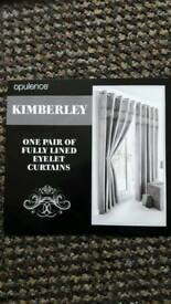 Silver Fully Lined Eyelet Curtains
