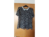 Gorgeous black and white polka dot blouse with lace collar. £1