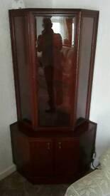 Mahogany and glass corner unit