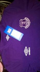 Everton boys shirt and training shorts