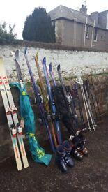 7 sets of skis & 8 sets ski poles