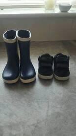 Jo Jo Maman Bèbè wellies & black Nike trainers