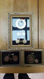 Set of G Burgess of St Ives Coin clock and 2 pictures