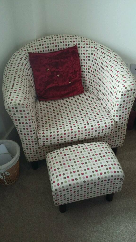 Polka dot tub chair and matching stool