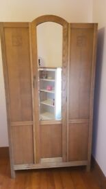 Genuine Art Deco Golden Oak Wardrobe/Hallrobe For Sale
