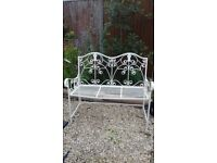 Shabby chic style metal bench