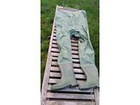 Green PVC nylon Shakespeare size 10 chest waders & mesh bag plus repair kit