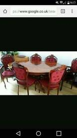 Italian Style Rococo Style Dining Table 6 Chairs