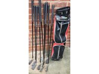 Ben Sayers Golf Bag Leather & 9 Golf Clubs - Size: S, P, 3, 4, 5, 6, 7, 8, 9