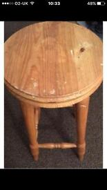2 wooden bar stools
