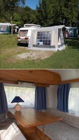 Eriba puck caravan and full awning