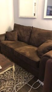 Brown micro suede couch for sale - Just Reduced Price!