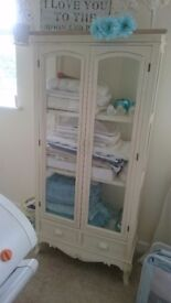Beautiful shabby chic melody maison glass display cabinet unit shelves