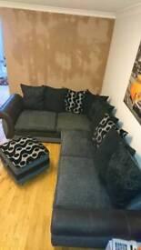 Dfs corner sofa and pouff